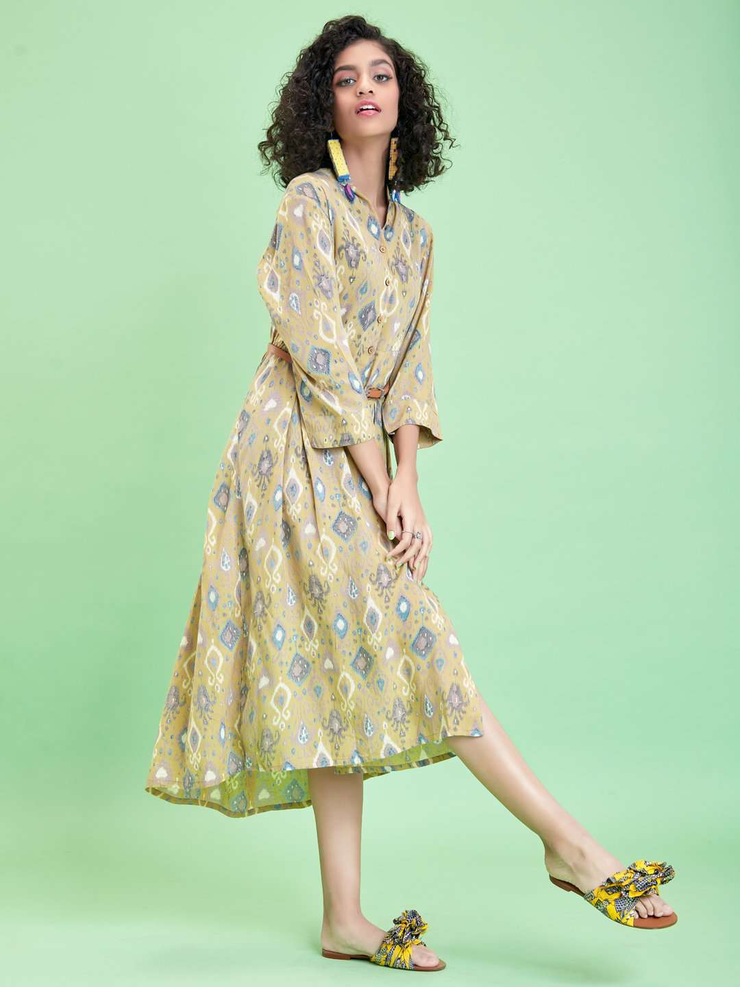 Left Side Green Ikkat Printed Rayon Liva Dress