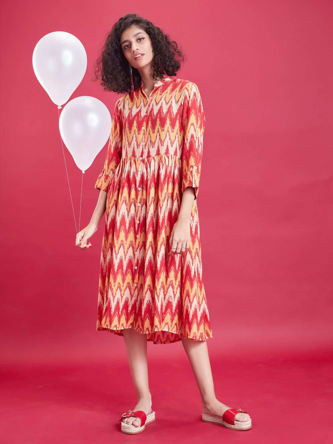 Front Side Red & Orange Ikkat Printed Rayon Liva Dress