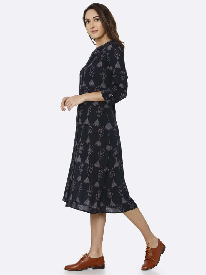 Left Side Black Printed Rayon Liva Dress
