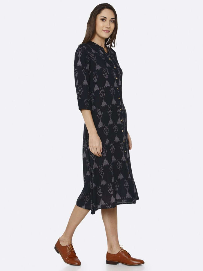 Right Side Black Printed Rayon Liva Dress