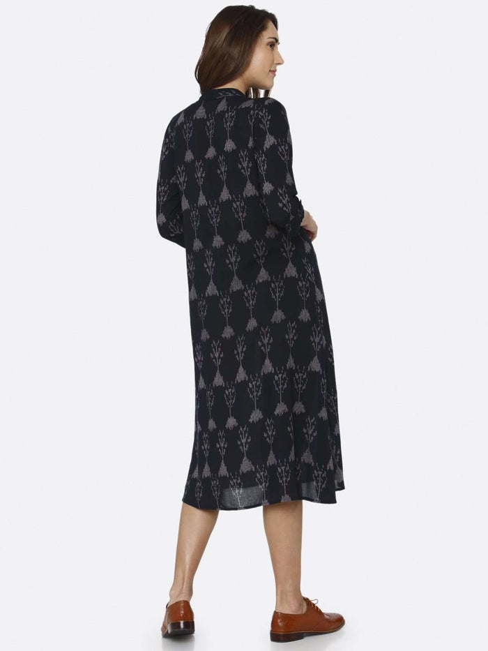 Back Side Black Printed Rayon Liva Dress