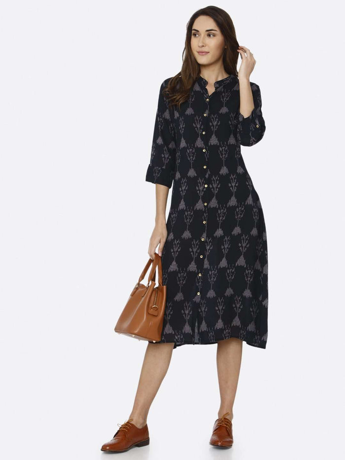 Casual Black Printed Rayon Liva Dress
