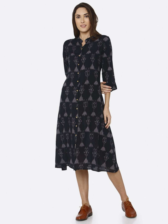 Front Side Black Printed Rayon Liva Dress