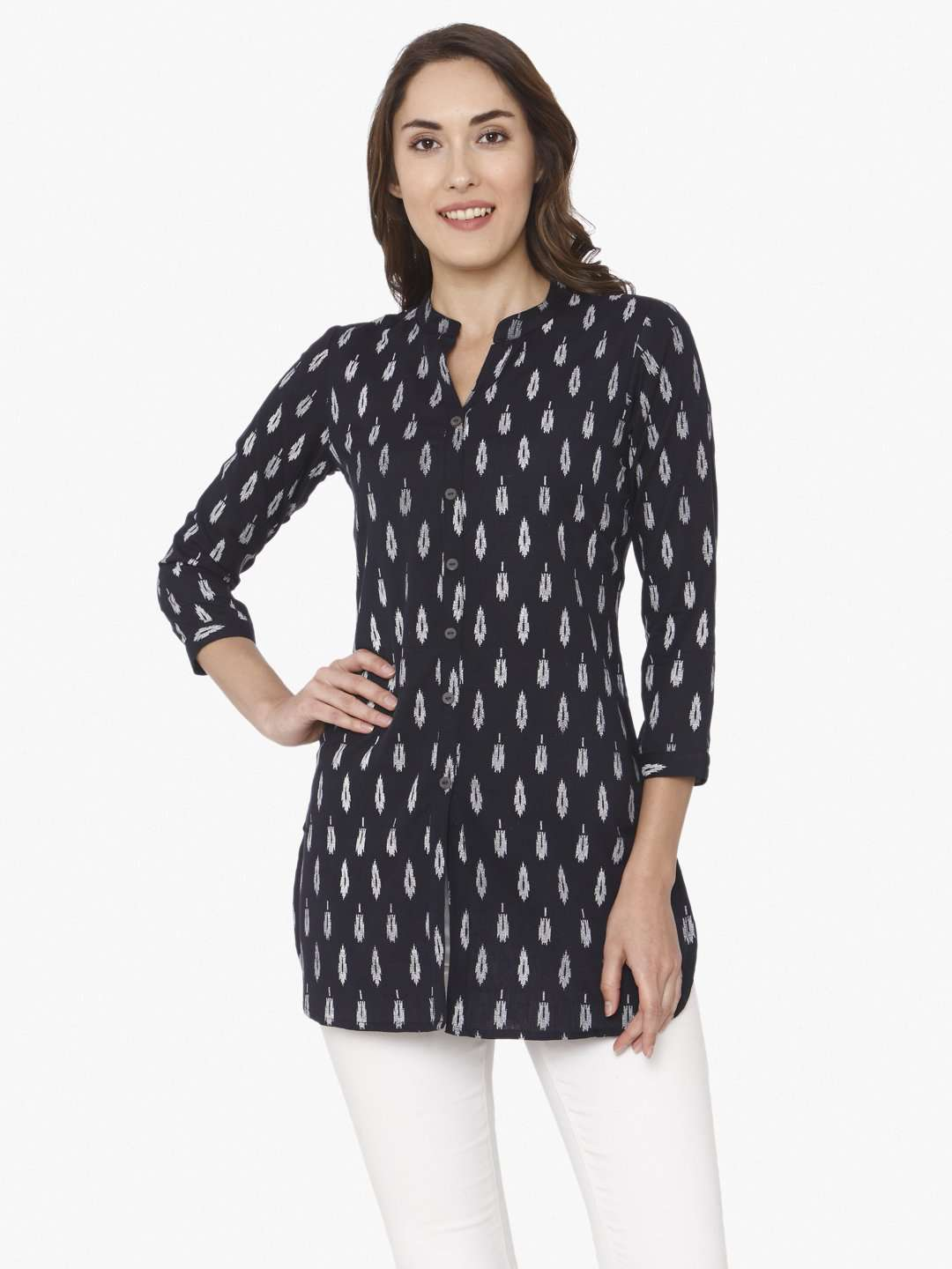Front Side Printed Cotton Straight Tunic With Black Color
