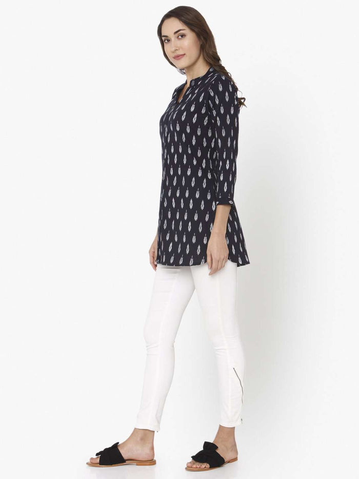 Left Side Black Printed Cotton Straight Tunic With White Palazzo