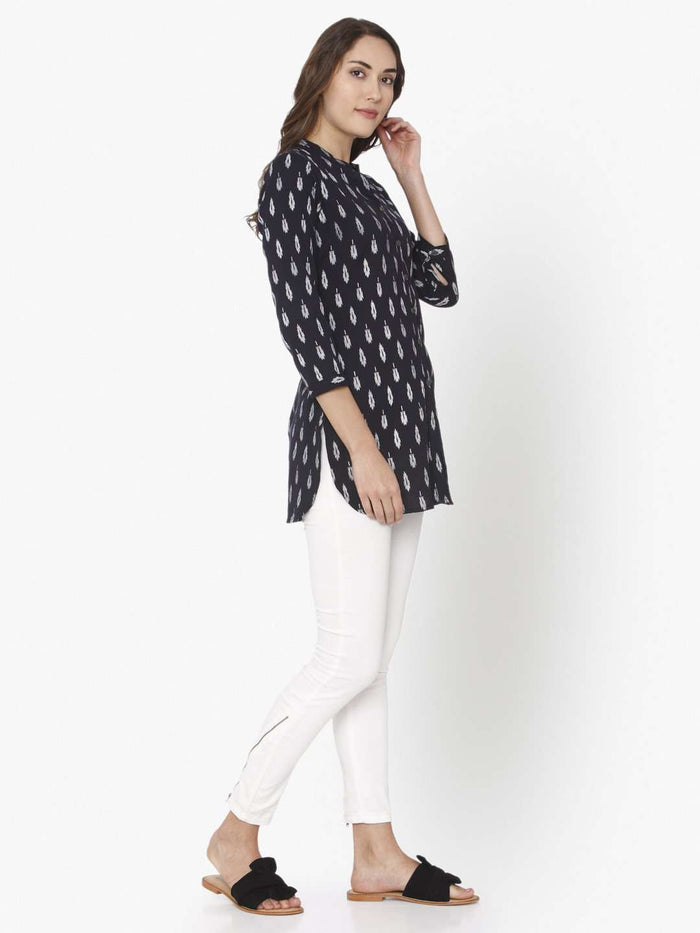 Right Side Black Printed Cotton Straight Tunic With White Palazzo
