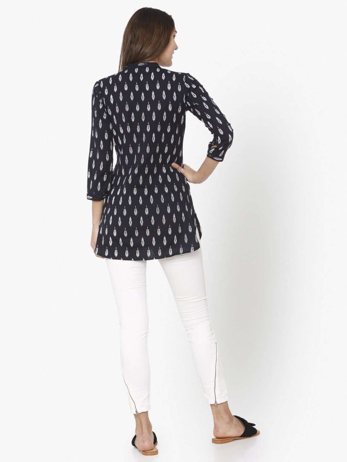 Back Side Black Printed Cotton Straight Tunic With White Color