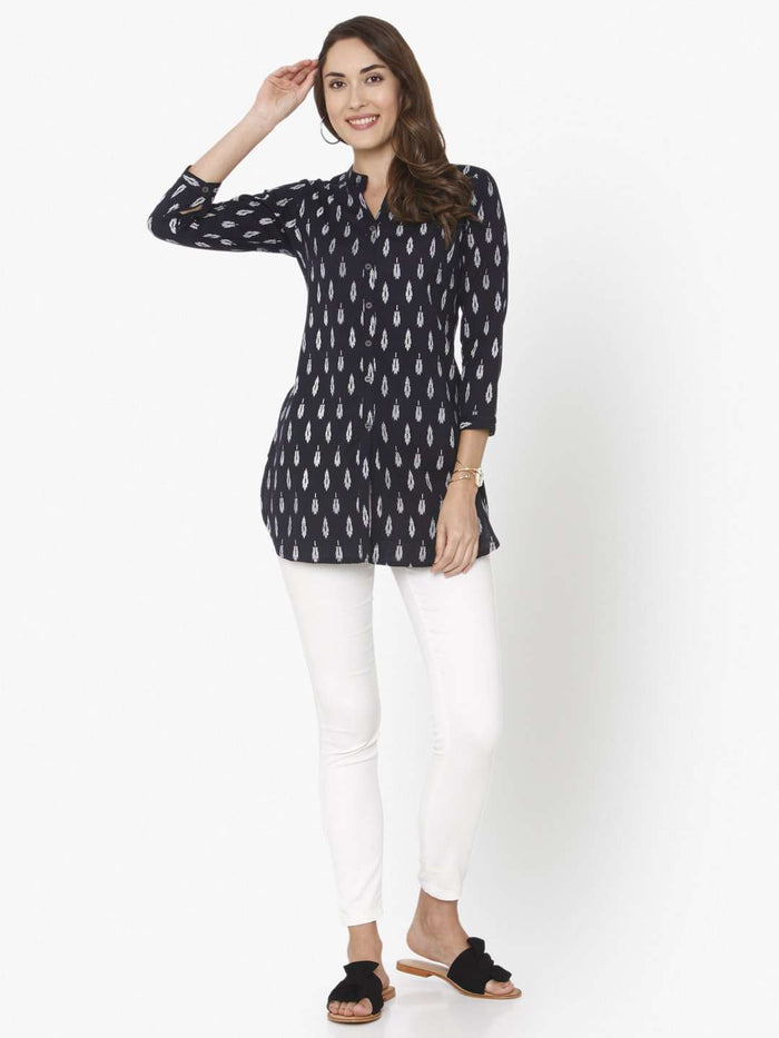 Front Side Casual Black Printed Cotton Straight Tunic With White Palazzo