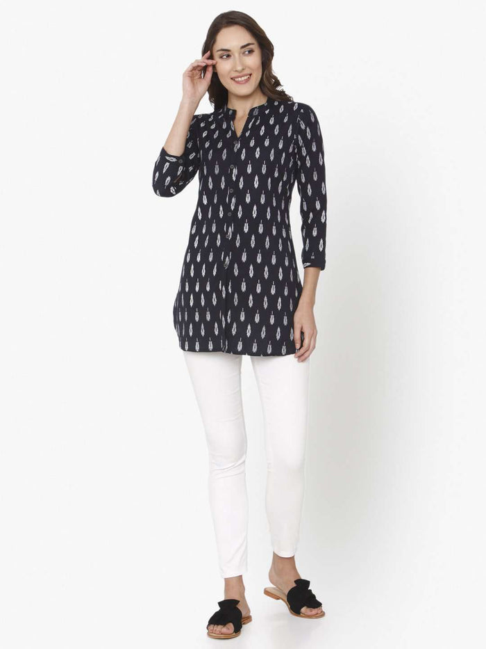 Full Front Side Black Printed Cotton Straight Tunic With White Palazzo