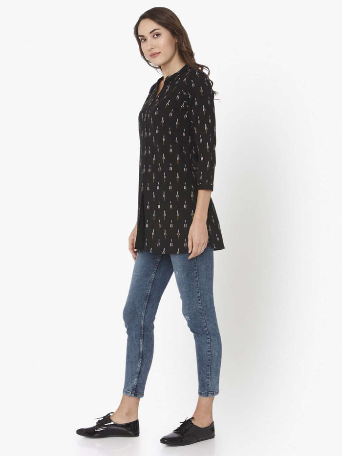 Black Printed Cotton Straight Tunic