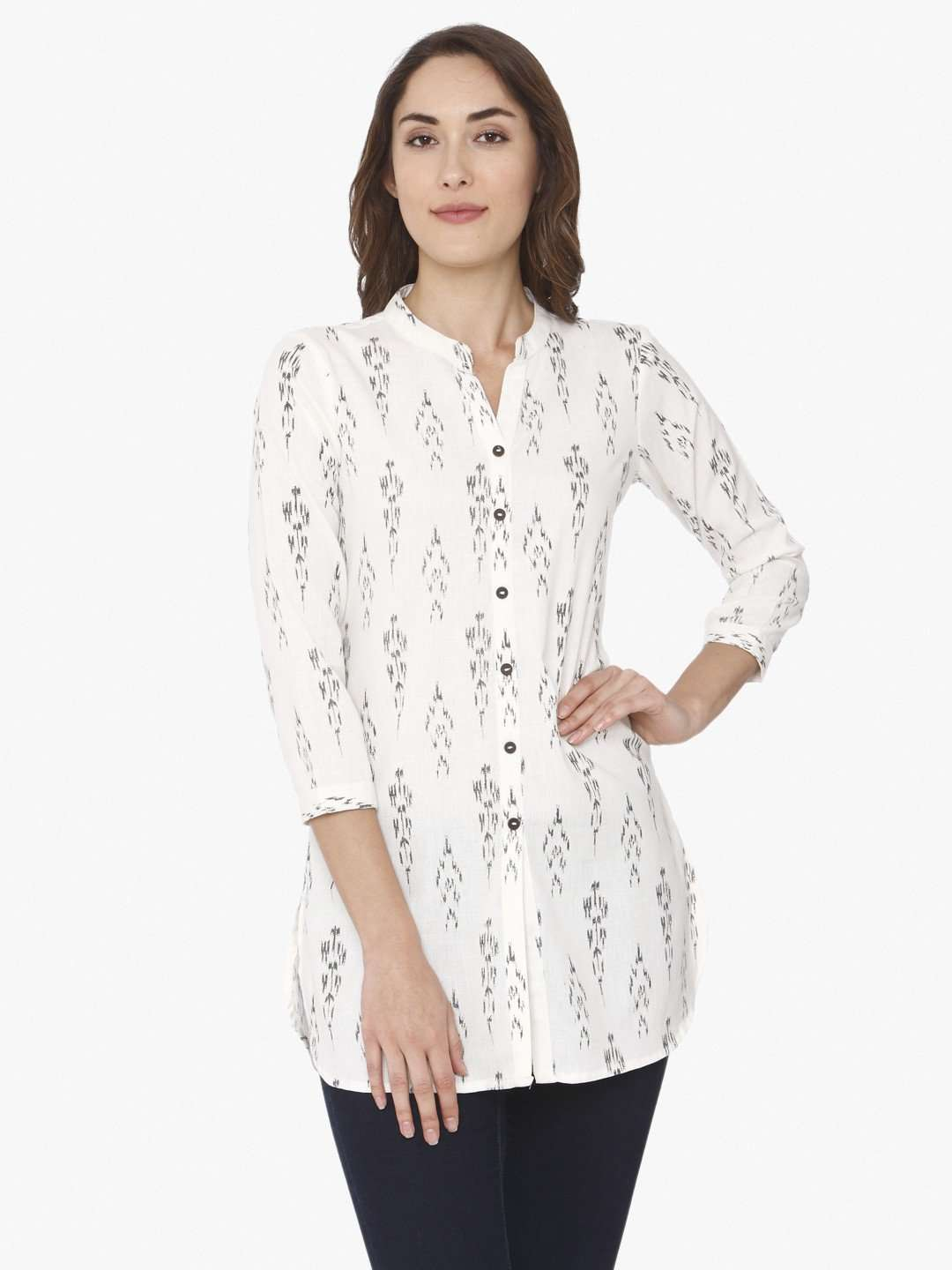 White Ikkat Printed Cotton Tunic