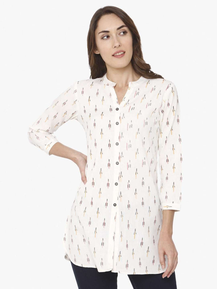 Front Side Ikkat Printed Cotton Tunic With White Color