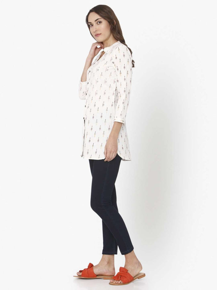 Left Side Ikkat Printed Cotton Tunic With White Color