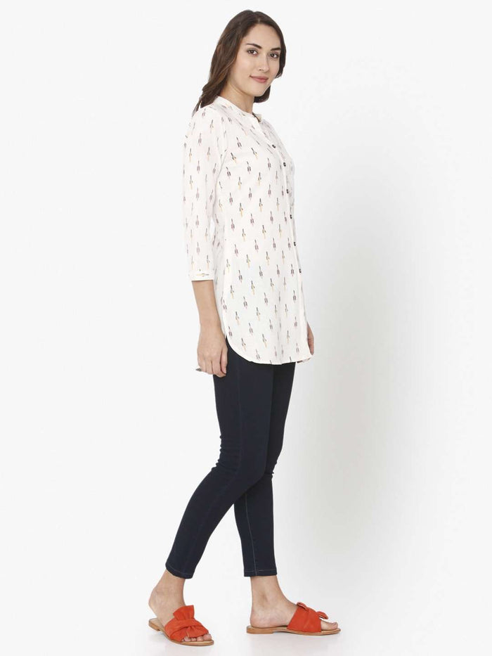 Right Side Ikkat Printed Cotton Tunic With White Color