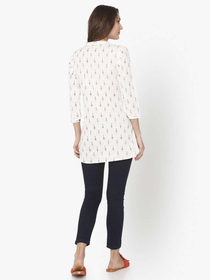 Back Side White Ikkat Printed Cotton Tunic With Black Pant