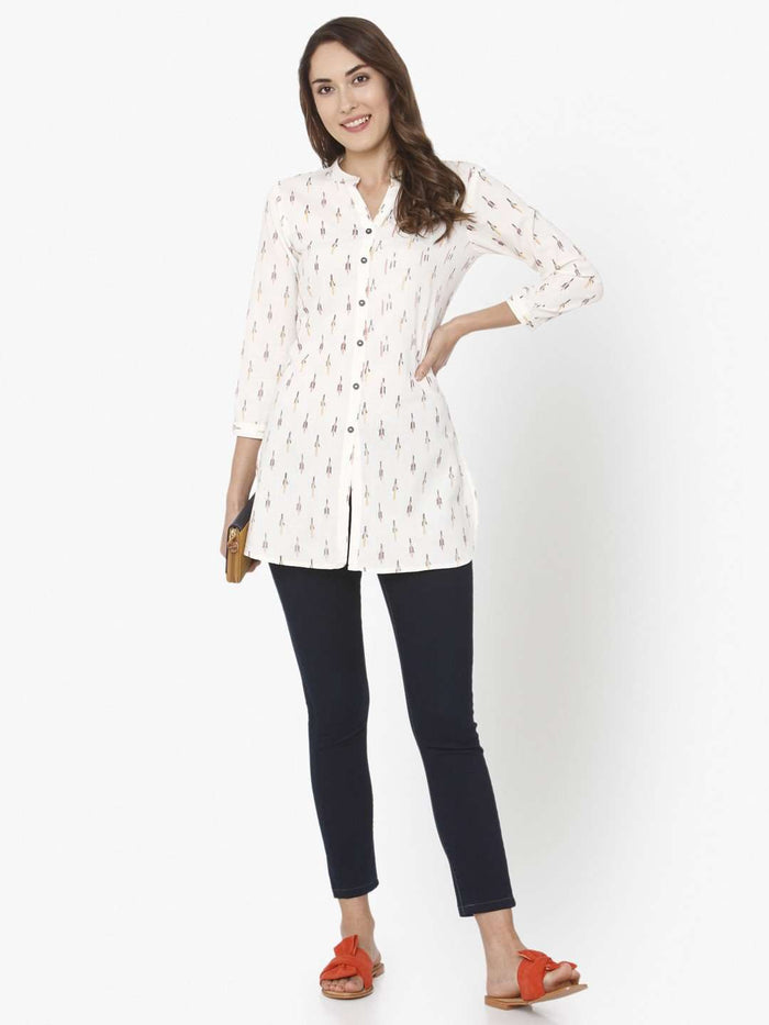 Full Front Side Casual White Ikkat Printed Cotton Tunic With Black pant