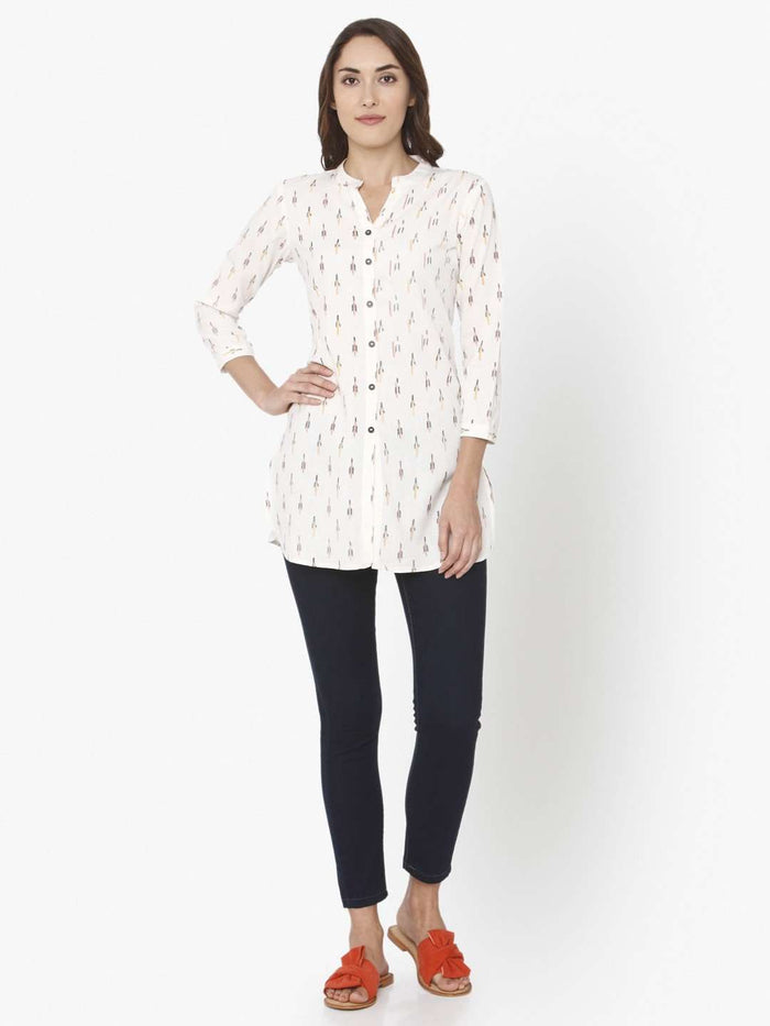 Full Front White Ikkat Printed Cotton Tunic With Black Pant
