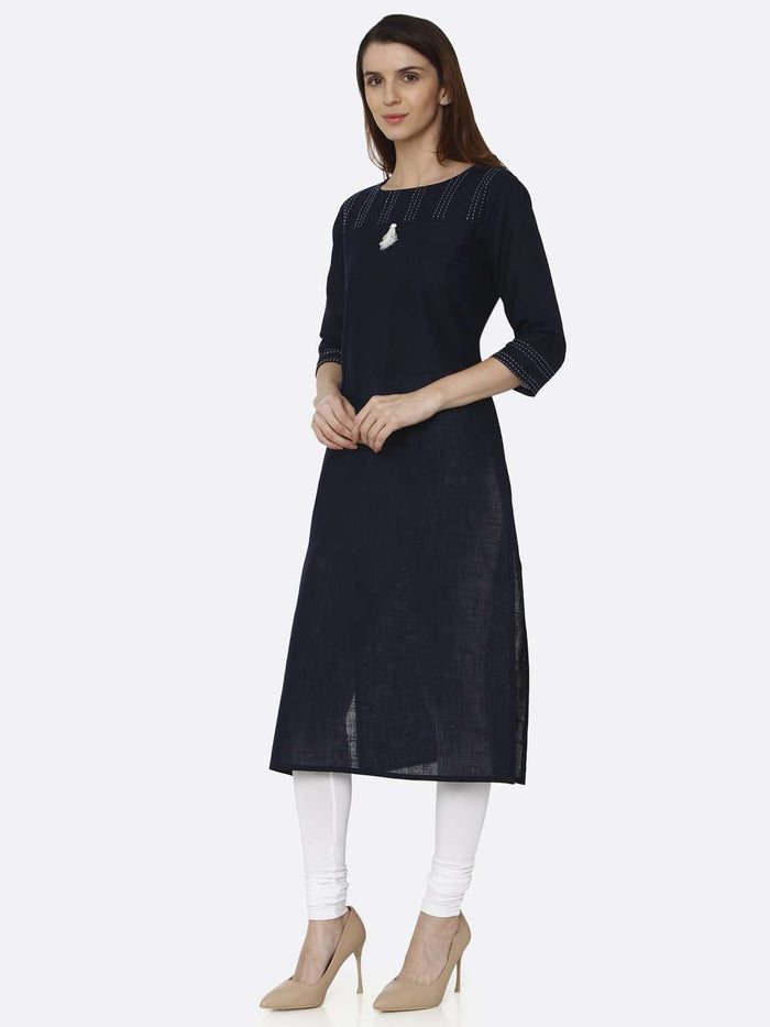 Left Side Navy Blue Solid Cotton Straight Kurti With White Palazzo Pant