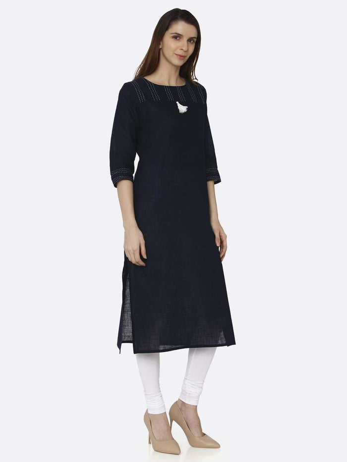 Right Side Navy Blue Solid Cotton Straight Kurti With White Palazzo Pant