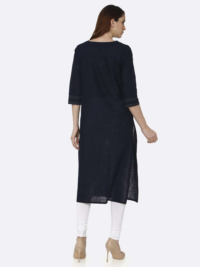 Back Side Navy Blue Solid Cotton Straight Kurti With White Palazzo Pant