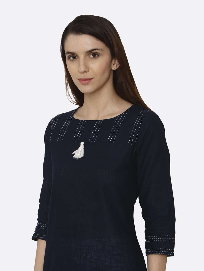 Left Side Navy Blue Solid Cotton Straight Kurti