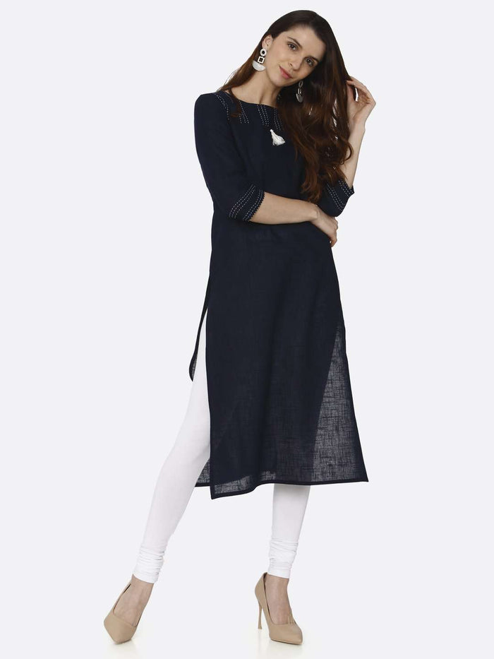 Front Side Casual Navy Blue Solid Cotton Straight Kurti