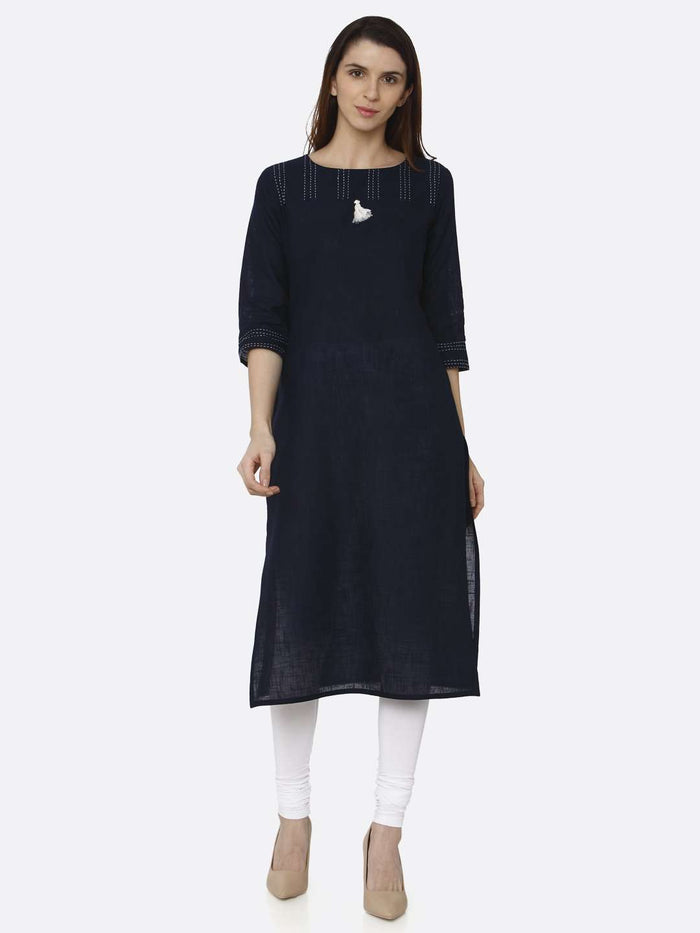 Front Side Navy Blue Solid Cotton Straight Kurti With White Palazzo Pant