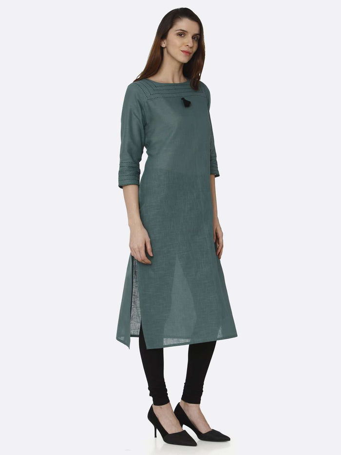 Right Side Green Solid Cotton Straight Kurti With Black Palazzo Pant