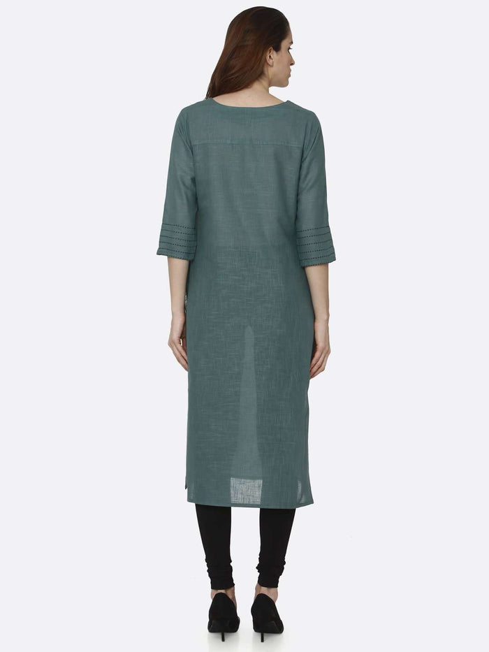 Back Side Green Solid Cotton Straight Kurti With Black Palazzo Pant