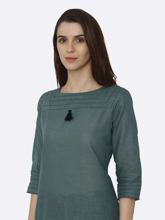 Left Side Green Solid Cotton Straight Kurti