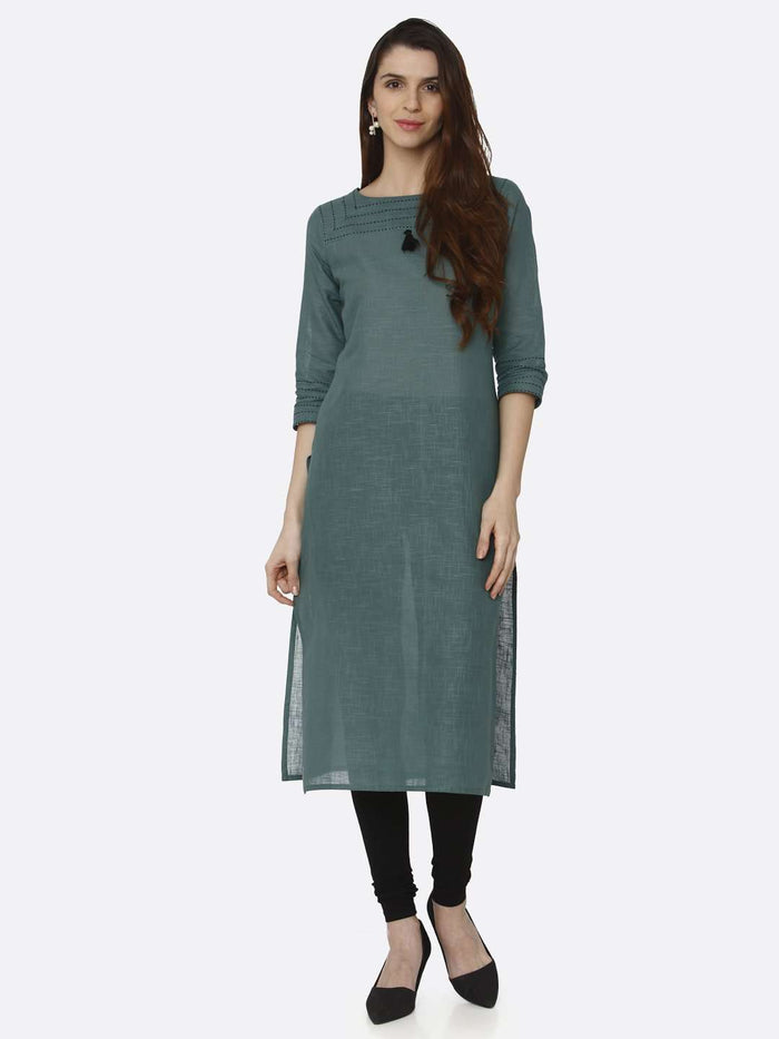 Front Side Green Solid Cotton Straight Kurti With Black Palazzo Pant