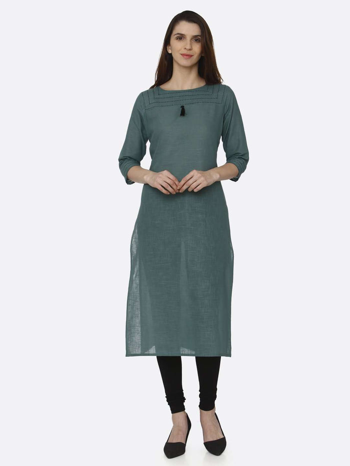 Front Side Green Solid Cotton Straight Kurti