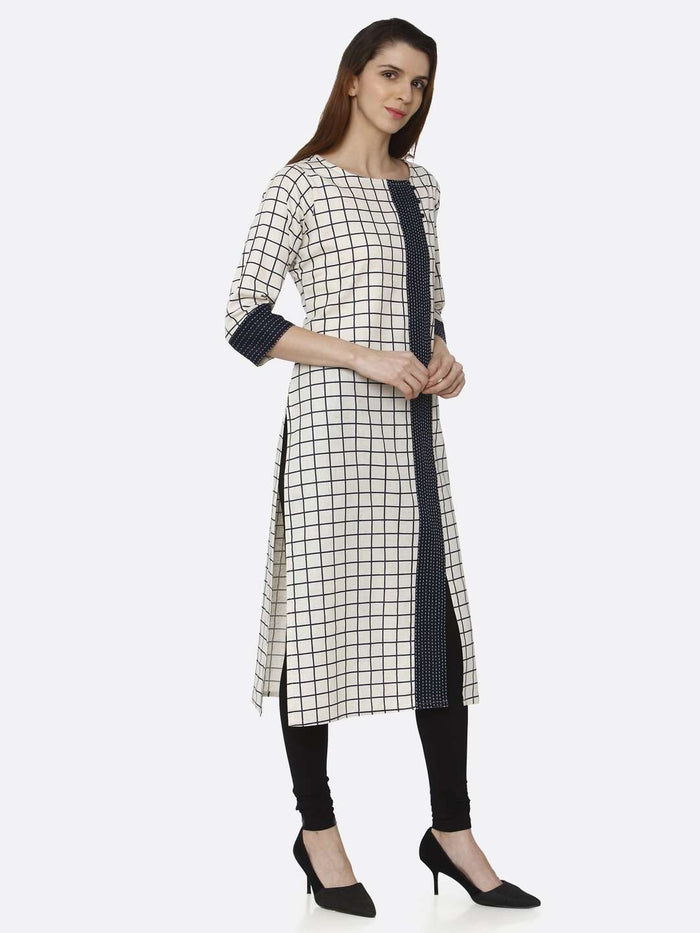 Right Side Off White Printed Cotton Straight Kurti With Black Palazzo Pant