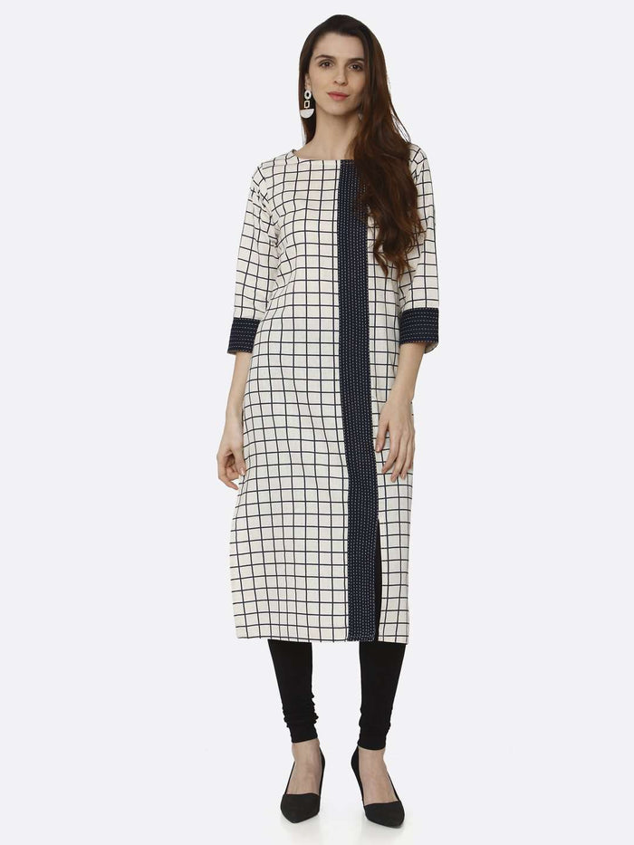 Casual Off White Printed Cotton Straight Kurti With Black Palazzo Pant