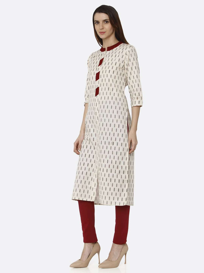 Left Side Off White Printed Cotton Straight Kurti With Maroon Palazzo Pant