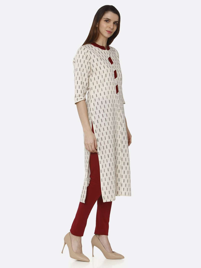 Right Side Off White Printed Cotton Straight Kurti With Maroon Palazzo Pant