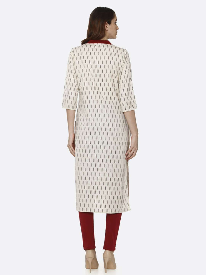 Back Side Off White Printed Cotton Straight Kurti With Maroon Color