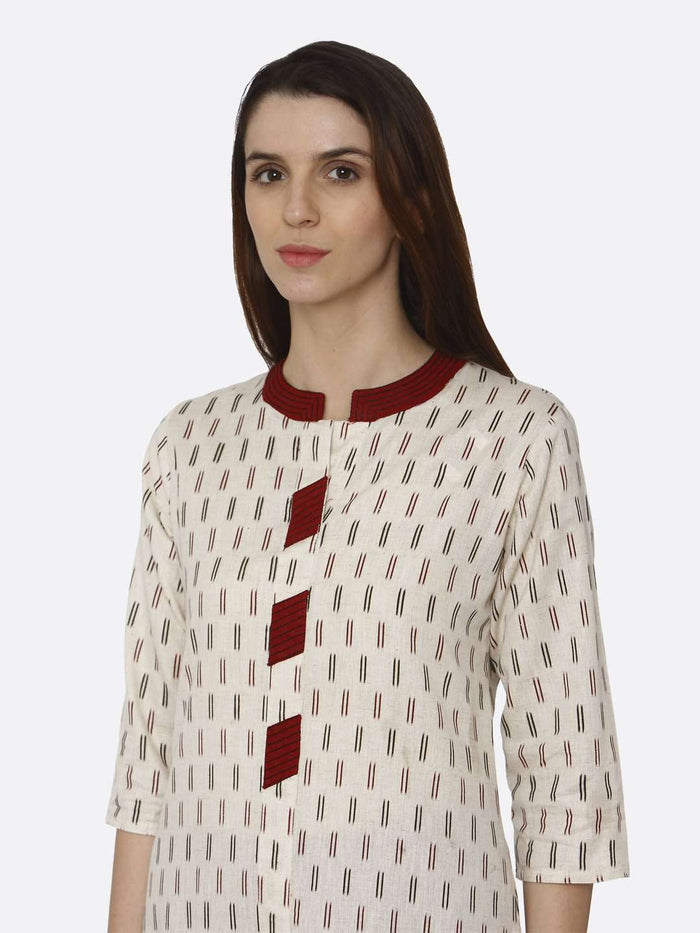Front Side Off White Printed Cotton Straight Kurti