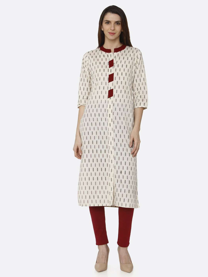 Front Side Off White Printed Cotton Straight Kurti With Maroon palazzo Pant