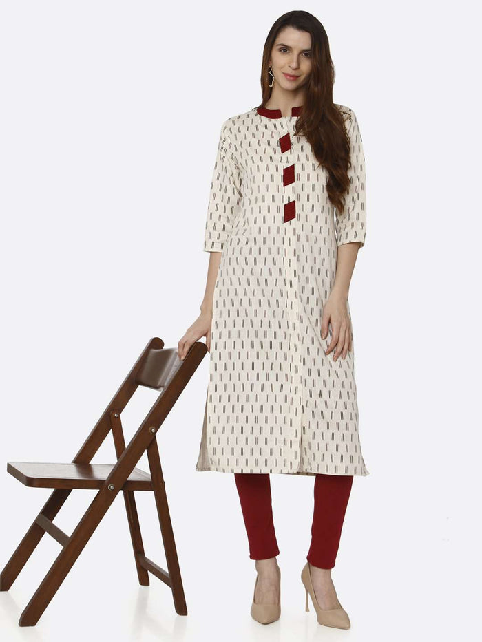 Casual Off White Printed Cotton Straight Kurti With Maroon Palazzo Pant