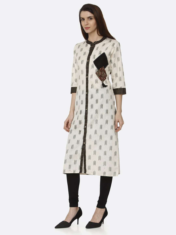 Left Side Off White & Black Printed Cotton Straight Kurti With Black Palazzo Pant