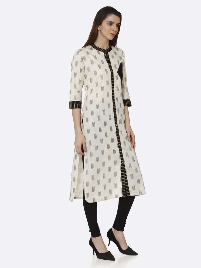 Right Side Off White & Black Printed Cotton Straight Kurti With Black Palazzo Pant
