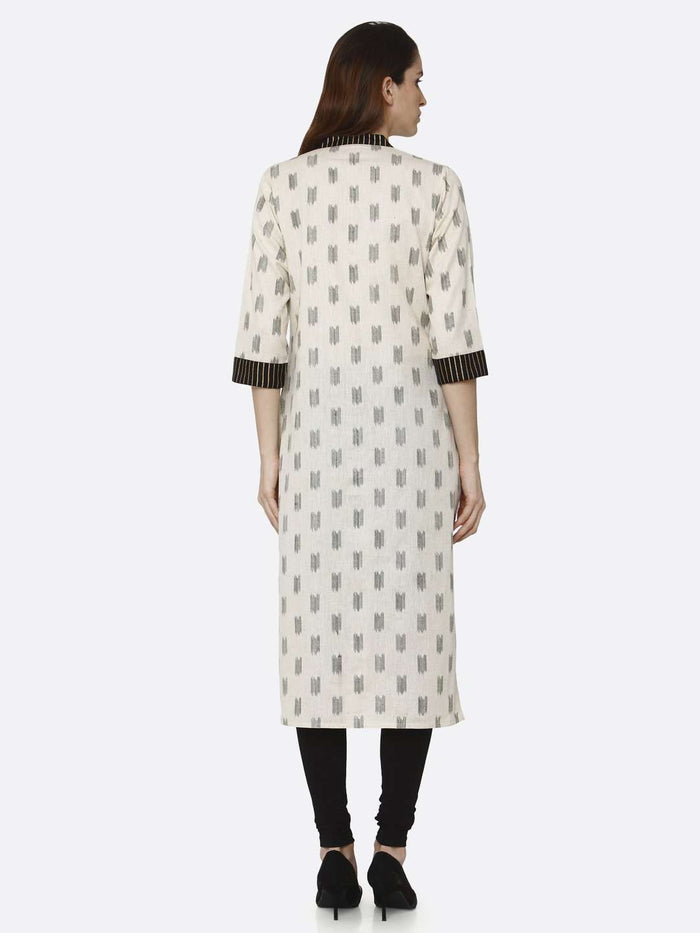 Back Side Off White & Black Printed Cotton Straight Kurti With Black Palazzo Pant
