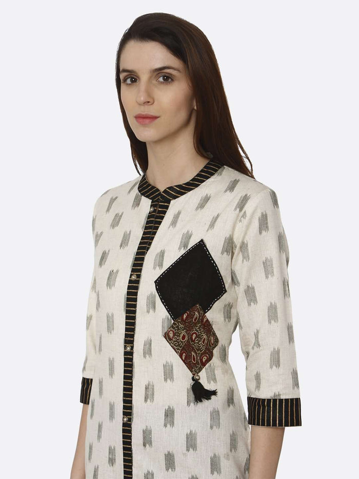 Left Side Off White & Black Printed Cotton Straight Kurti