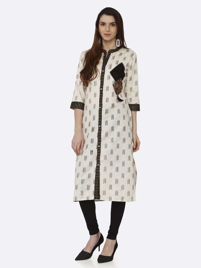 Casual Off White & Black Printed Cotton Straight Kurti With Black Palazzo Pant