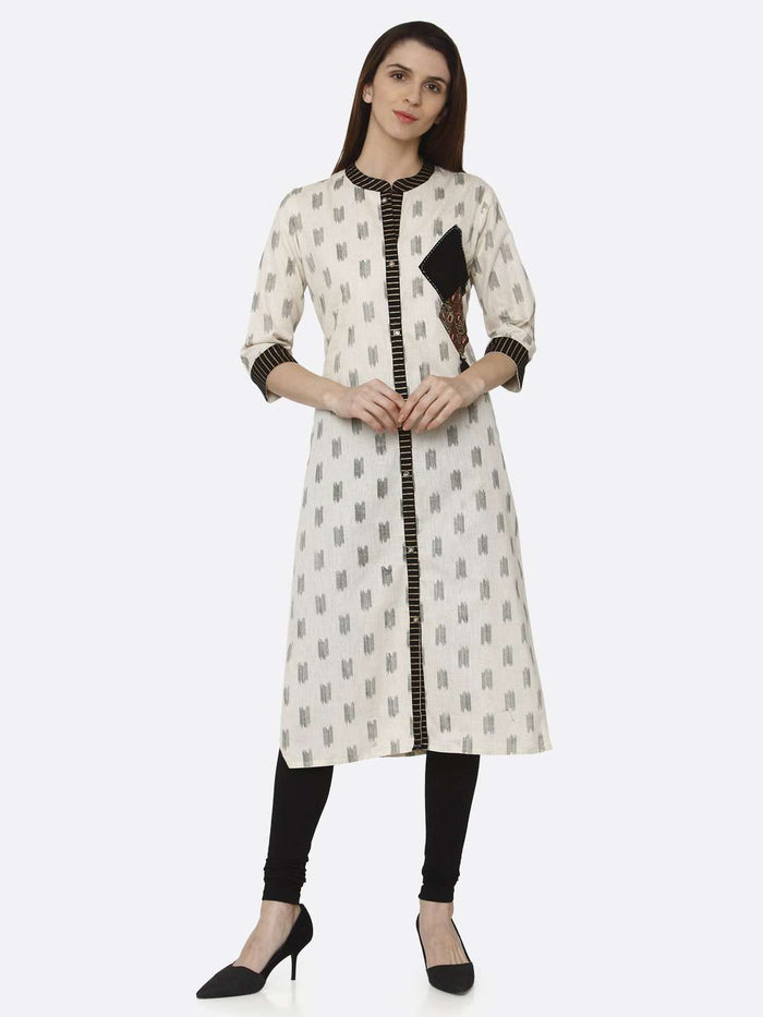 Front Side Off White & Black Printed Cotton Straight Kurti With Black Palazzo Pant