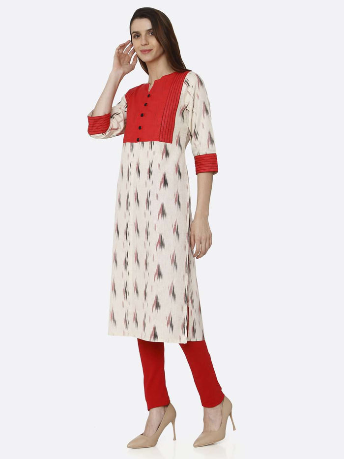 Left Side Red & Off White Printed Cotton Straight Kurti With Red Palazzo Pant