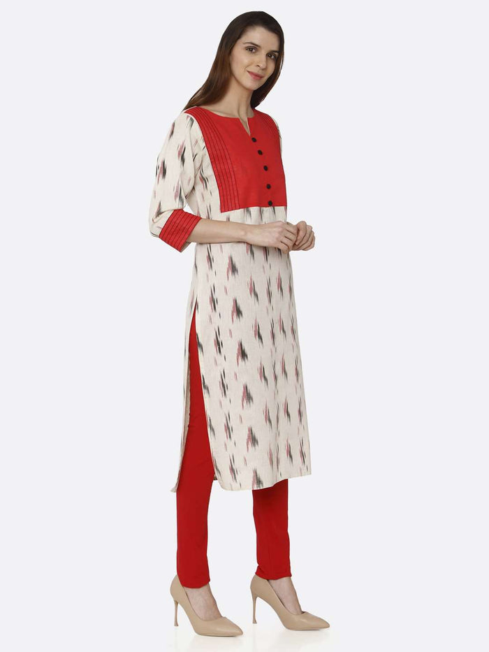 Right Side Red & Off White Printed Cotton Straight Kurti With Red Palazzo Pant