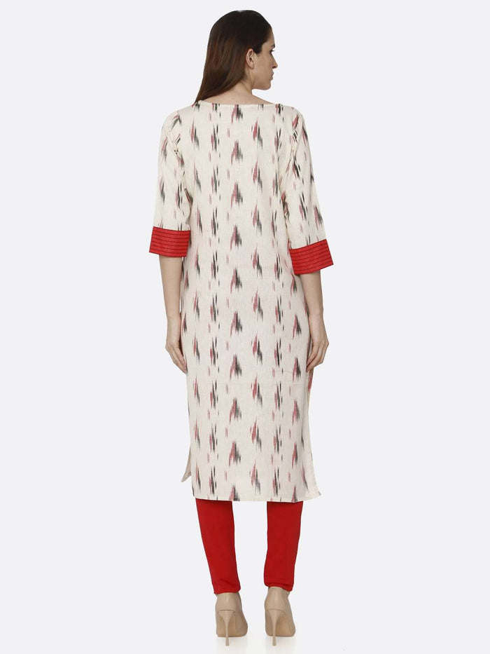 Back Side Red & Off White Printed Cotton Straight Kurti With Red Palazzo Pant