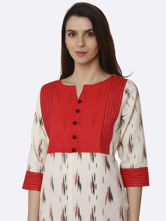 Front Side Red & Off White Printed Cotton Straight Kurti